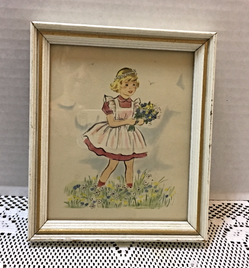 Small Wood Framed Vintage Print Girl With Wildflowers Wall Hanging Lambert Prod.
