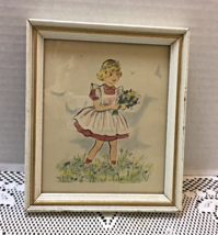Small Wood Framed Vintage Print Girl With Wildflowers Wall Hanging Lambe... - $12.00