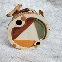 Tealight Candle Holder, Circle of Angels, Pray for Peace, Vintage Earthenware image 5