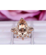 Pear Morganite Halo Stackable Crown band Engagement Ring 18k Rose Gold F... - $87.58