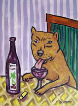 animal Art oil painting printed on canvas home decor  BULL terrier wine  - $14.99+