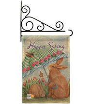 Bunnies With Umbrella Burlap - Impressions Decorative Metal Fansy Wall B... - $33.97