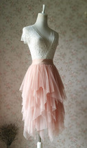 Layered Midi Tulle Skirt Blush Pink Ballerina Tulle Skirt Blush Party Midi Skirt image 2