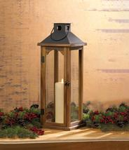 """4 Wooden Pine Candle Lanterns w/ Metal Top & Clear Glass Large 22"""" High - $147.95"""