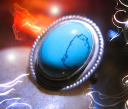 Haunted ring LOYALTY LOVE ORDER WOLF SPIRIT Vessel MAGICK 925 WITCH Cassia4  - $30.00