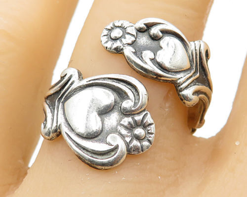 AVON 925 Silver- Vintage Love Heart & Floral Decor Bypass Band Ring Sz 8 - R5094