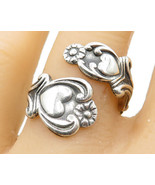 AVON 925 Silver- Vintage Love Heart & Floral Decor Bypass Band Ring Sz 8 - R5094 - $39.79