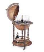 Wood Globe Bar Cabinet Cart Wine Rack Liquor Whiskey Glass Vintage Stora... - $369.00