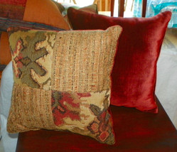Pair of Tan Burgundy Green Flower Print Throw Pillows  18 x 18 - $49.95
