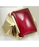 Antique/Vintage 1920's Art Deco LARGE Ruby Cabochon 10k Solid Gold Men's... - $490.05