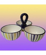 The Mardi Gras Collections  Snack Nut Candy Dish 3 Compartments by Becky... - $27.71