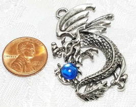 LARGE DRAGON WITH CRYSTAL FINE PEWTER PENDANT CHARM - 30mm L x 47mm W x 5mm D image 2