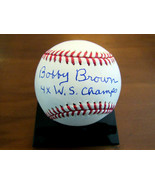 BOBBY BROWN 4 X W.S. CHAMPS YANKEES A.L. PRESIDENT SIGNED AUTO OML BASEB... - $148.49