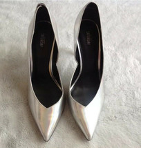 Kate Spade Saturday Holographic Iridescent Silver Pointed Toe Pumps Size 7.5 - $98.01