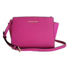 Michael Kors Selma Medium Messenger ~ Fuschia Leather Crossbody Purse Bag NWT - $125.95