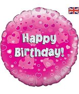 Oaktree 18 Inch Foil Balloon - Happy Birthday Pink Holographic - $6.50