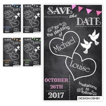 100 Save the Date Evening Wedding Magnet Cards Envs Chalkboard Hearts Bu... - $41.97