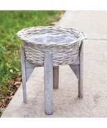 """Gray Willow Flower Basket Planter with 10"""" Stand for Farmhouse Garden Ho... - $29.69"""