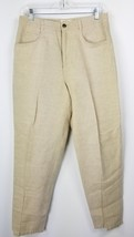 Talbot's Petites Pants 12 12P Irish Linen Cotton Blend Tan - $34.64