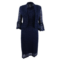 R&M Richards Womens Navy Blue Floral Lace Bell Sleeve Dress Jacket Sz 10... - $49.01