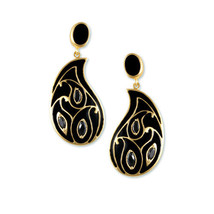 Gold Paisley Collection earring with black enamel  & black marquise cz - $39.59