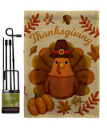 Pilgrim Turkey Burlap - Impressions Decorative Metal Garden Pole Flag Se... - $33.97