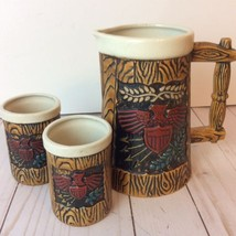 Vintage Napcoware Pitcher Cups Set Americana Colonial Mid Century C-7202 - $19.75