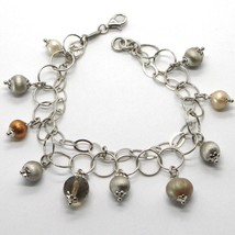 925 Sterling Silver Double Bracelet With Smoky Quartz Worked Spheres And Pearls - $68.61