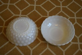Set of Two Vintage Hobnail Serving Bowls Milk Glass - Very Good Condition - $27.00