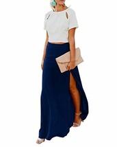 Imily Bela Womens High Waisted Chiffon Flowy Vintage Skirts Side Split Long Maxi - $27.12