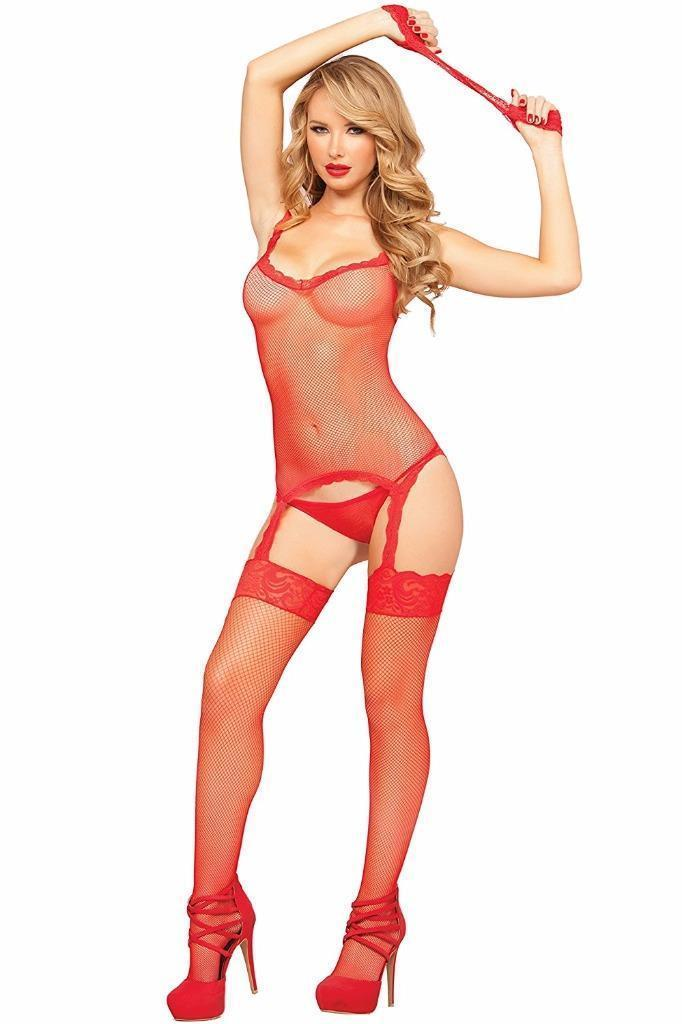 Women's Seven 'Til Midnight Lingerie Fishnet Lace Garter Set Red 20431 One Size