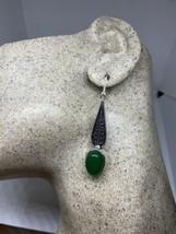Vintage Green Chrysoprase 925 Sterling Silver Chandelier Lever back Earr... - $75.21