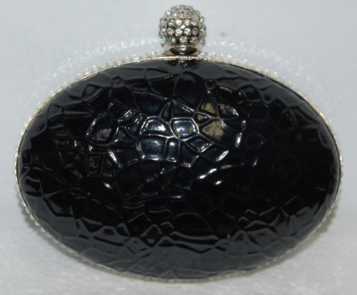 Ins Brand Black Silver Alligator Print Purse Clear Rhinestone Studded Opening