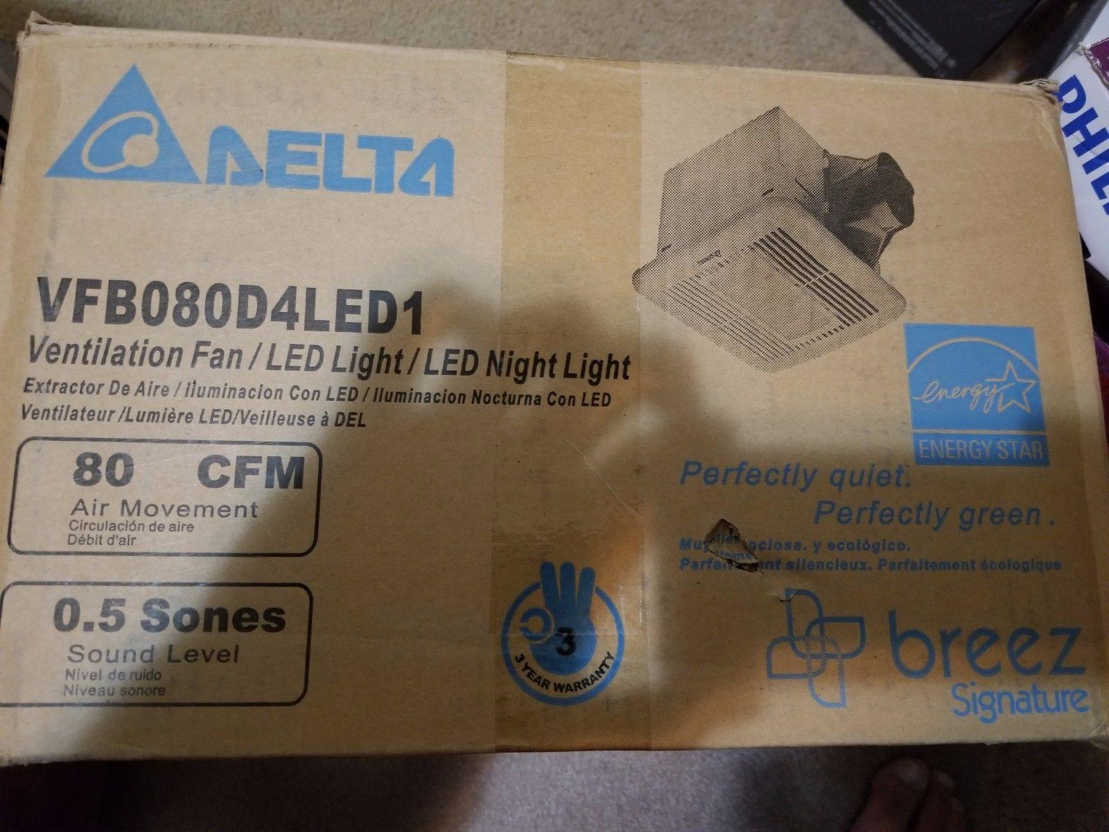 Delta Breez Bathroom Fans Sig80mled Breezsignature 80 Cfm: Breez Signature 80 CFM Energy Star Exhaust Bathroom Fan