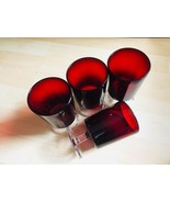 Vintage Luminarc Set Of 4 France Ruby Red Cranberry Clear Stem Goblets W... - $51.98