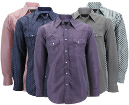 LW Men's Western Button Up Long Sleeve Stylish Pattern Cowboy Rodeo Dress Shirt