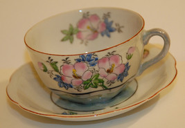 3 ANTQ VINTAGE FLORAL GREEN LUSTRE TEA CUP SAUCER STAMPED JAPAN RED HIBI... - $34.99
