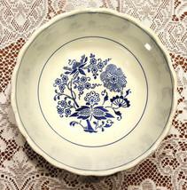 """9"""" Round Serving Bowl  White & Blue Floral Design Vintage Germany - $30.00"""