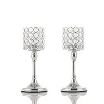 VINCIGANT Silver Long Stem Crystal Candlesticks Holder Set of 2 for Moth... - $36.87
