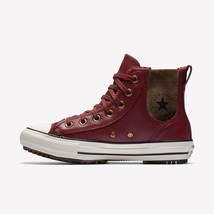 Women's Converse Cta Sta Leather+Faux Fur Chelsea Boot, 553393C Sizes 6-10 Maroon - $89.95