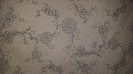 Navy Blue Floral Stitched Ivory Cotton Upholstery Fabric, 07-47-41-068 - $12.69