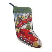 Lands End Needlepoint Christmas Stocking Flynn Monogrammed Toy Train New - $23.71