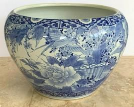 Impressive Old Chinese Blue & White Porcelain Birds Floral Motif Planter... - $2,871.00