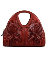 New Floral Embossed Italian Leather Top Handle Satchel Handbag Purse 2193 - $179.95