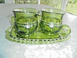 Vintage Indiana Glass Crown Green Cream & Sugar Bowl & Tray c1950's - $19.80