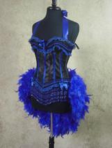 Size M-Royal Blue &  Black Victorian Lace Moulin Burlesque Costume Feather - $149.99