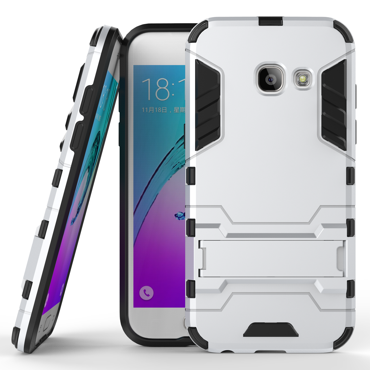 Armor kickstand protective phone cover case for samsung galaxy a3 2017 silver p20161229140357524