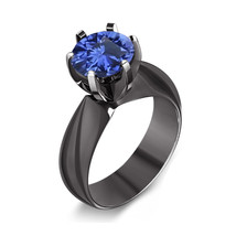 Blue Sapphire Solitaire Womens Engagement Ring Rhodium Over 925 Sterling... - £60.54 GBP