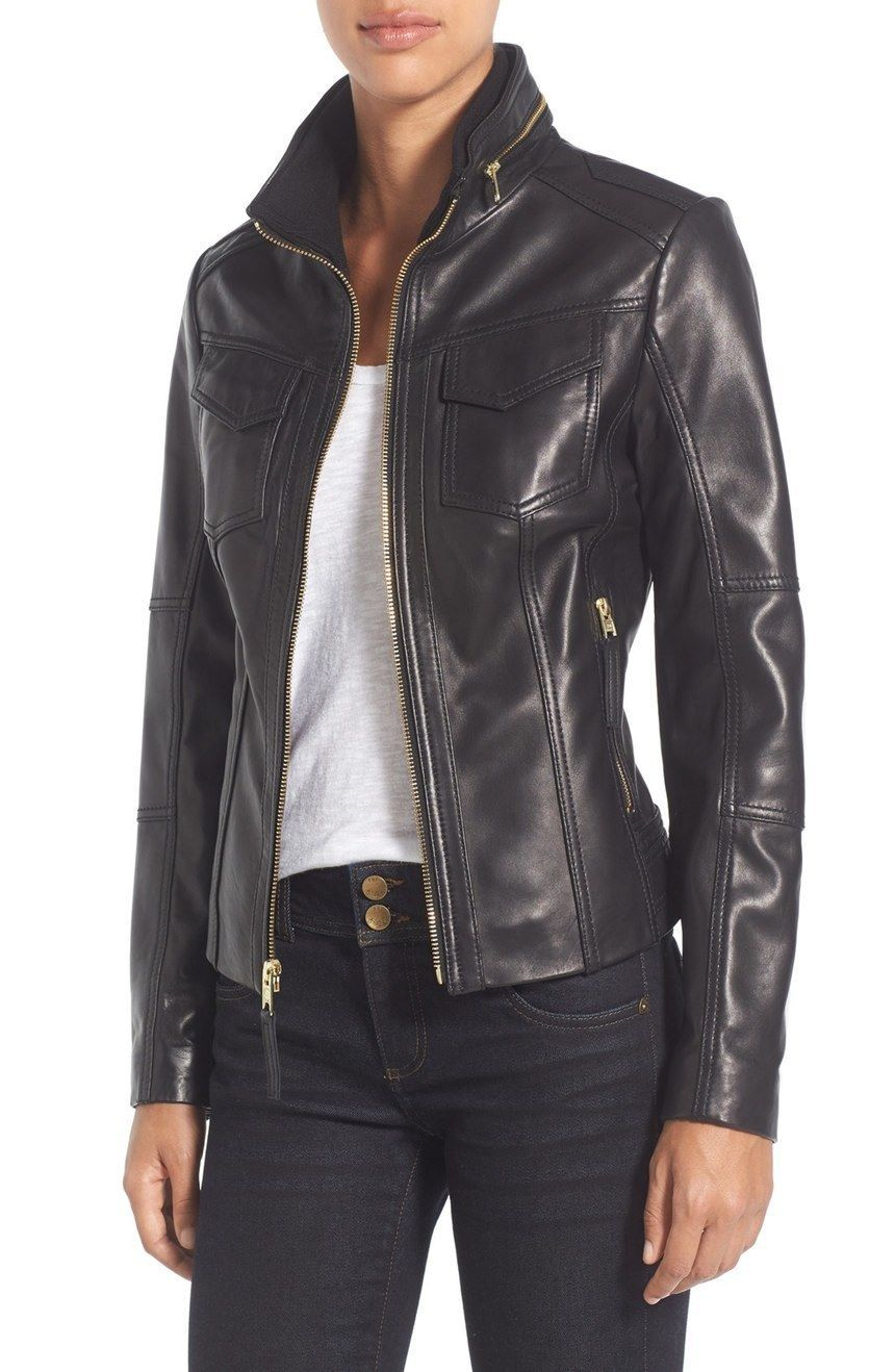 WOMEN BIKER MOTORCYCLE CASUAL SLIM FIT RIDER REAL GENUINE  LEATHER JACKET-A83