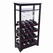 NEW Espresso Finish Wine Rack Holds 16 Bottles Cabinet Vino Lover Glass ... - $108.80